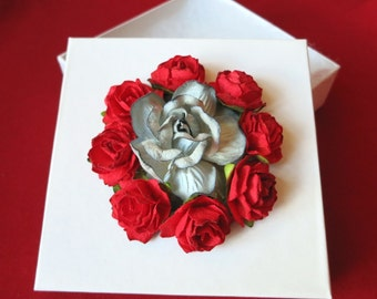 Floral Gift Box in Red, White and Gray