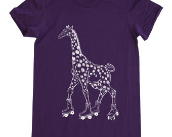 Giraffe On Rollerskates T Shirt. Women's American Apparel Fine Jersey Short Sleeve Tee. White Print - S M L XL