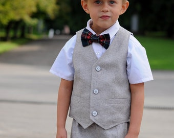 Toddler ring bearer outfit gray Baby boy shorts vest and hat Grey hat vest and shorts Boy wedding outfit gray First birthday boy photo prop
