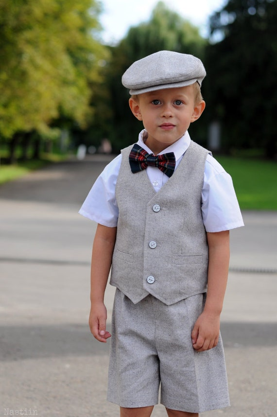 Toddler ring bearer outfit gray Baby boy shorts vest and hat