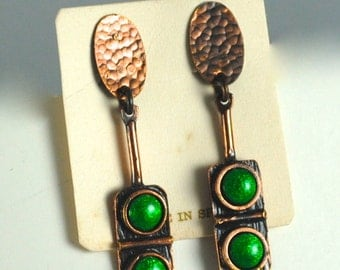 Vintage Copper and Beautiful Green Rectangular Earrings Made in Spain 1960s