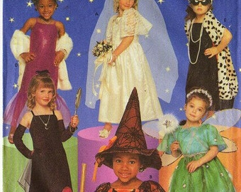Little Girls' Glamour Halloween Costumes SEWING PATTERN  - 1999 Simplicity 8885, Sizes 3 4 5 6 7 8 - Gently Used