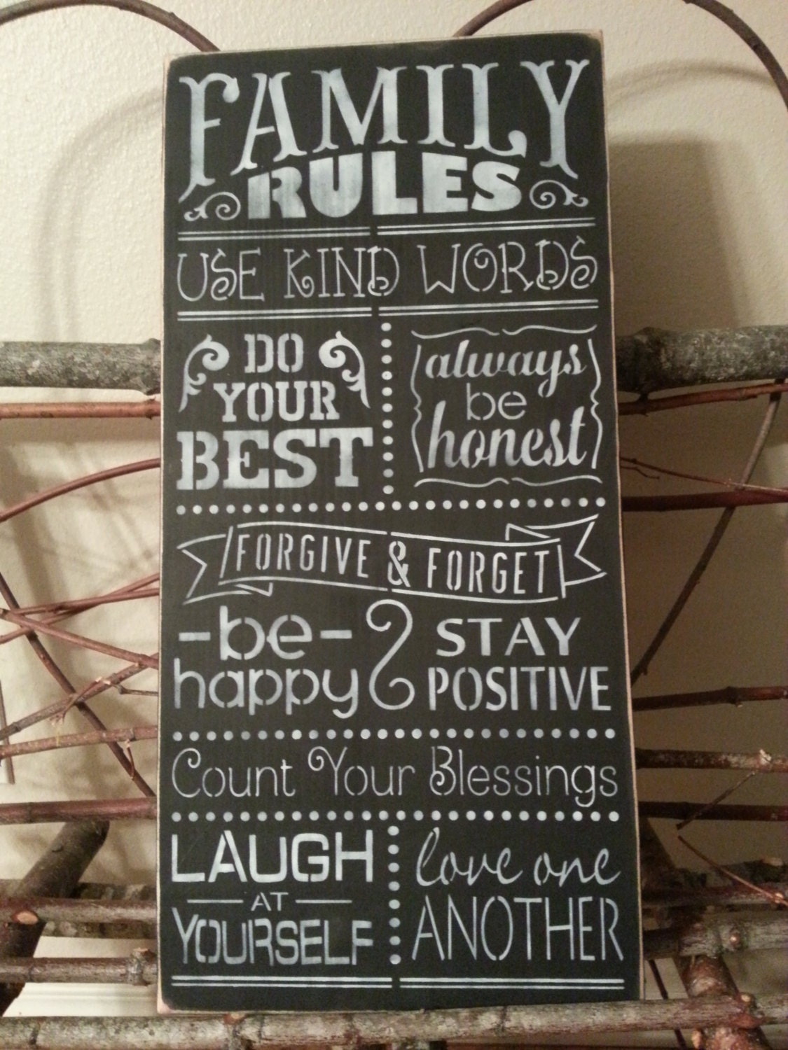 Family Rules Hand Painted Wall Decor Wood Sign Distressed