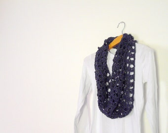 blue loop cowl with spangles crochet infinity scarf for girlfriend,eating out with friends, evening shawl, elegant dinner wrap,wool necklace