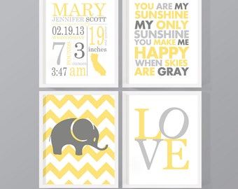 Baby birth announcement Nursery set, neutral baby room wall decor Baby Stats, personalized baby decor, baby bedroom art PRINT/CANVAS/DIGITAL