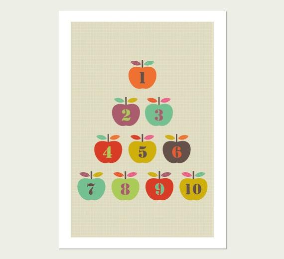 Apples Kids Room Art Print. Numbers 1 to 10. Kids Modern Wall Art, Modern Nursery Art, Kids room Art, Apple Print.