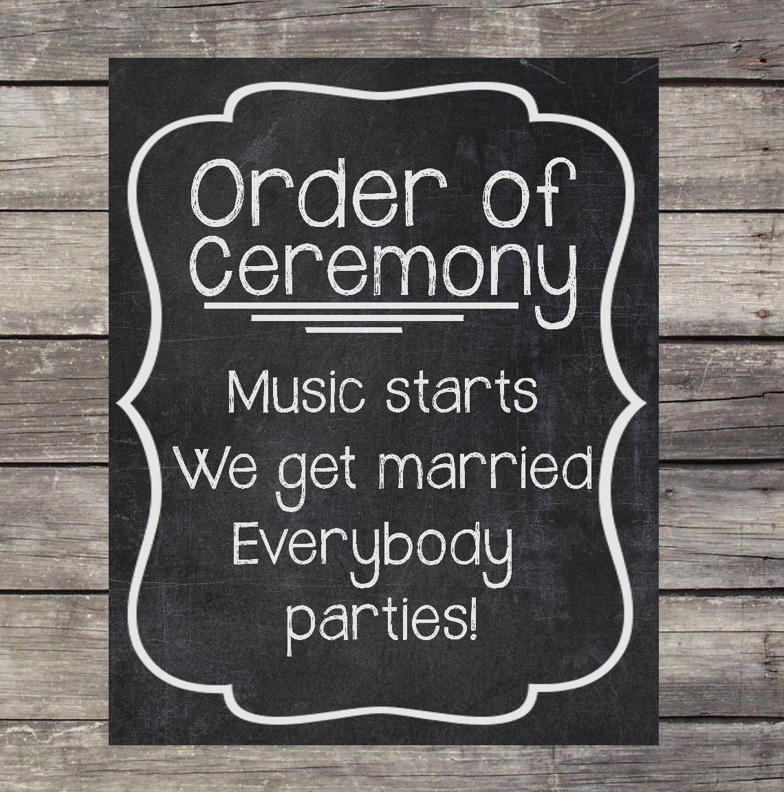 Order Of Wedding Ceremony: Order Of Ceremony Chalkboard Wedding Sign By OurLittleMoments