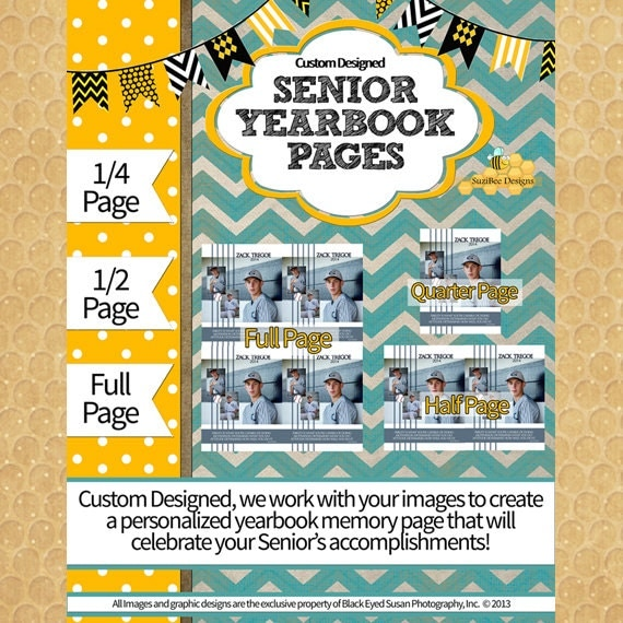 Yearbook ad template custom designed full 1 2 1 4 page for Templates for yearbook pages