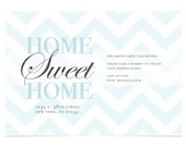 Chevron Print Moving Announcement - Printable New Address Card - Home Sweet Home - Blue and White Chevron