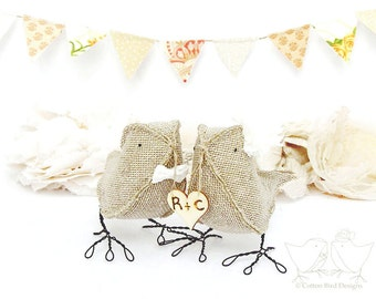 Burlap Fabric Birds Cake Topper Rustic Woodland Autumn Winter Wedding