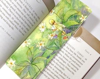 Reading Fairy Bookmark with Ladybug Friends, waldorf style bookmark
