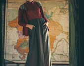 Long silk skirt in purple-gray, vintage inspired, with pockets in heavy weight silk, with elastic band