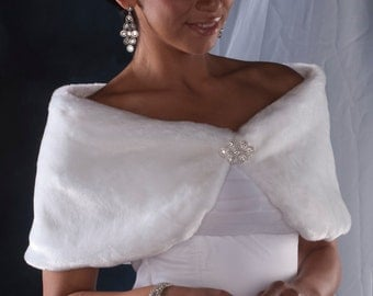 "Bride's 10"" wide Faux Fur Custom Wrap shawl Winter Wedding Formal shrug Available in white, diamond, black or cream"
