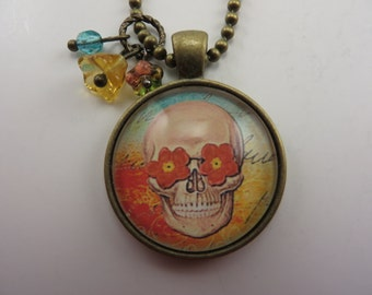Sugar Skull Necklace Flowers Orange Blue Fantasy Goth Free Shipping