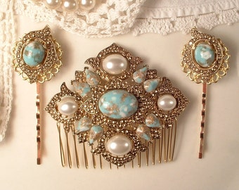 SET Turquoise Ivory Pearl Gold Bridal Hair Comb & Pins, Vintage 1920s Art Deco Antique Gold Aqua Blue Dress Sash Brooch Headpiece Bobby Rose