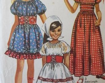 Vintage Simplicity 9244 Sewing Pattern, 1970s Dress Pattern, Girls Dirndl, Oktoberfest, Halloween Costume, Chest 30, Peasant Dress, Supply