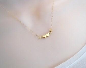 Double Heart Necklace, Tiny Necklace, Delicate Gold Necklace, Minimal Necklace, Sister Necklace, Friendship Necklace, Best Friend Necklace