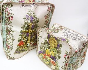 Vintage Kitchen Linens Toaster Cover Mixer Cover French Country Decor Mint Green Purple Yellow