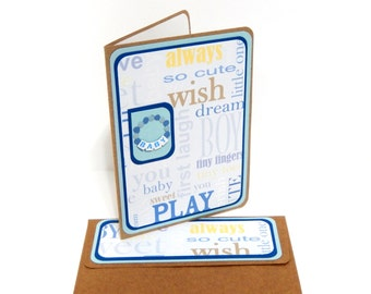 CLEARANCE-Baby Boy Congrats Card with Matching Embellished Envelope
