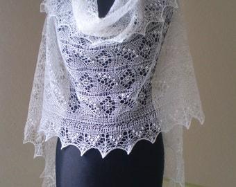 Hand knitted wedding shawl, traditional Estonian lace stole, Haapsalu  shawl, heirloom,  soft cobweb merino MADE TO ORDER