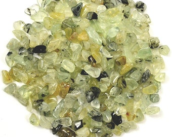 500 XXS Mini PREHNITE Rutilated Tumbled Stones 1/4 lb Parcel - Healing Crystal and Stone Medicine Bag, Reiki, Feng Shui, Jewelry & Crafts