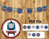 Thomas the train Banner Thomas the train Happy birthday banner decorations Thomas the tank engine party banner (Any Age)  (DIY File PDF)