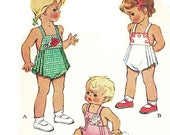 McCall 1330 Photocopy of Vintage 40s Adorable Toddlers Sunsuit Tuck Pleats, Romper Playsuit, Elephant Floral Transfer Sewing Pattern Sz 6 mo