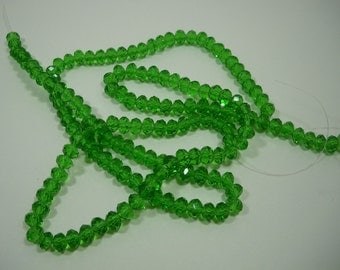 Green Tourmaline Color Crystal Glass Faceted Rondelle Beads 6mm