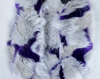 Purple patches block fur classy upscale Fuzzy Leg Warmers fluffy boot covers rave fluffies gogo rave fluffies