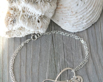 Personalized 925 sterling silver Infinity bracelet with initial charms, monogram letter Stamped disc,one two three four five 1 2 3 4 5 6 7 8