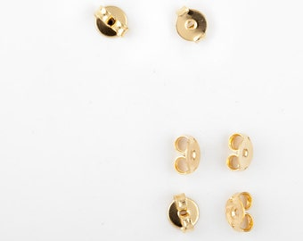 10pcs Gold filled earrings Ear Nut backs nuts stopper butterfly - supply jewelry making gold earrings componets stopper butterfly