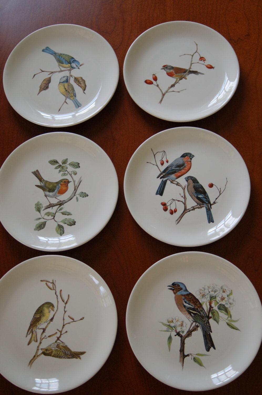 Set of 6 villeroy boch bird plates collectible plates lunch for Villeroy and boch plates