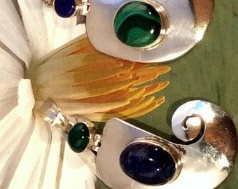 Sterling Silver Spiral Pendant. Hinged, Lapis Lazuli, Malachite, Green Onyx or Blue Topaz. free US ship 69.49 ea