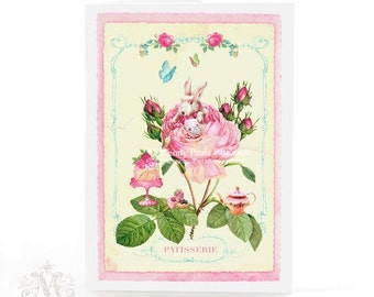 Rabbit card, pink rose tea party, French patisserie, for Easter, baby girl, birthday, blank inside for a personal message