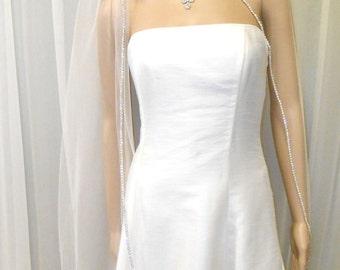 """Rhinestone Catheeral Wedding Veil, 108"""" Wide 130"""" Long, CATHEDRAL Veil w/ Crystal Rhinestone Edge, Long Rhinestone Veil"""