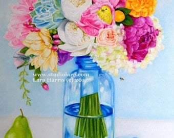 Prints Given Out at the 2015 Golden Globes of This Piece! ~CUSTOM Bold, Bright, Beautiful Floral OIL Painting by LARA - 18x24 Still Life