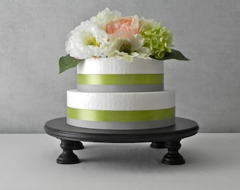 "12"" Cake Stand  Round Cupcake Grooms Cake Black Wooden Rustic Wedding Decor By E. Isabella Designs. As Featured In Martha Stewart Weddings"