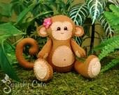 Monkey Sewing Pattern PDF - Jungle Stuffed Animal Felt Plushie - Mango the Monkey - Instant Download