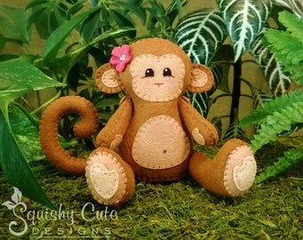 Monkey Sewing Pattern PDF - Jungle Stuffed Animal Felt Plushie - Mango the Monkey - Instant Download