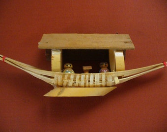 Vintage Handmade Bamboo Miniature Boat River Boats Asian Accents Boat People YourFineHouse ShipsWorldwide Asian Man Woman Vintage Treasures