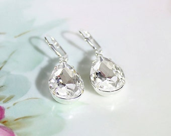Crystal Rhinestone Earrings Large Diamond Cut Ice Crystal Rhinestone Earrings April Birthstone Winter Wedding Jewelry Bridesmaid Earrings