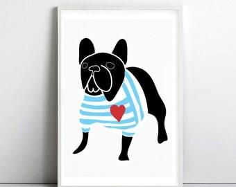 FRENCH BULLDOG in Breton shirt 2 A3 poster -  frenchie - dog prints - art print by nicemiceforyou