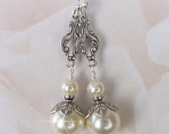 Antique Style Bridal Pearl Earrings, Vintage Style Pearl Drop Earrings in White or Ivory, Silver, Brides, Bridesmaids, Weddings