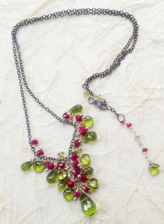 Peridot, Idocrase Briolette Necklace  Ruby Briolettes Cluste Necklace July August Birthstone