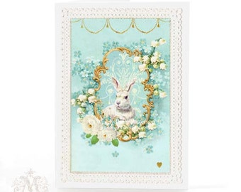 Rabbit card, Easter card, vintage style, Easter bunny, blue, forget me not, white rabbit, lily of the Valley, roses, holiday card, blank