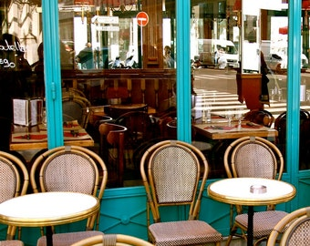Paris Cafe Print - French Bistro Photograph - Kitchen Decor - Turquoise Brown Decor Bistro Tables and Chair Parisian Photo Wall Art