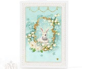 Rabbit card, Easter card, Easter bunny, blue, forget me not, white rabbit, lily of the Valley, holiday card, birthday card, baby boy card