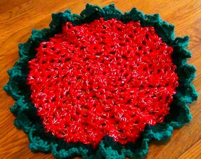Christmas Holiday Table Mat - Red Green Gold