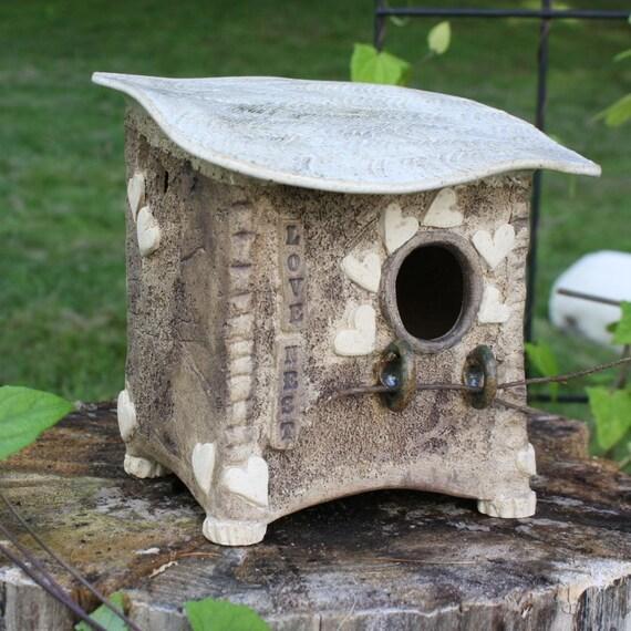 Bird House - Stoneware Birdhouse - Whimsical Ceramic Bird House ...