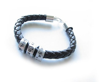 Spiral Braided Leather Cuff Bracelet, Personalized Hand stamped Secret Message Bracelet, Unisex hidden message leather bracelet